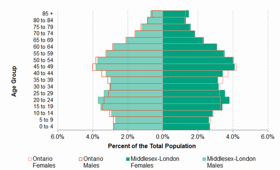 Figure 1.6: Population pyramid (by sex and five year age ...
