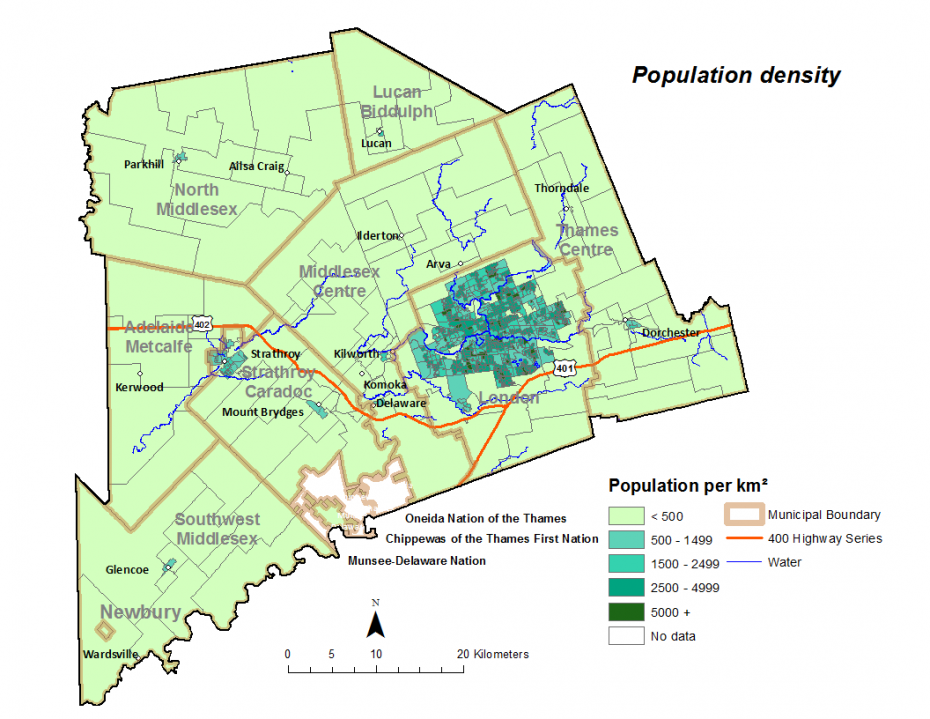 Figure 1.2.4: Population density by dissemination area