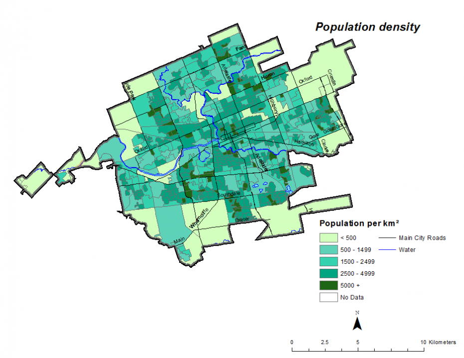 Figure 1.2.5: Population density by dissemination area