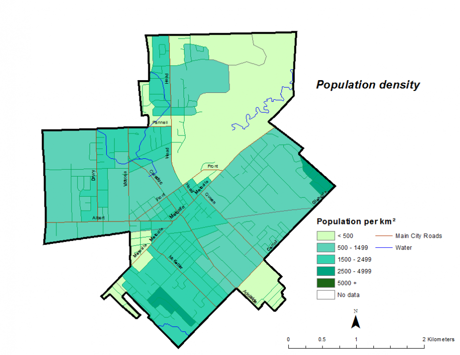 Figure 1.2.6: Population density by dissemination area