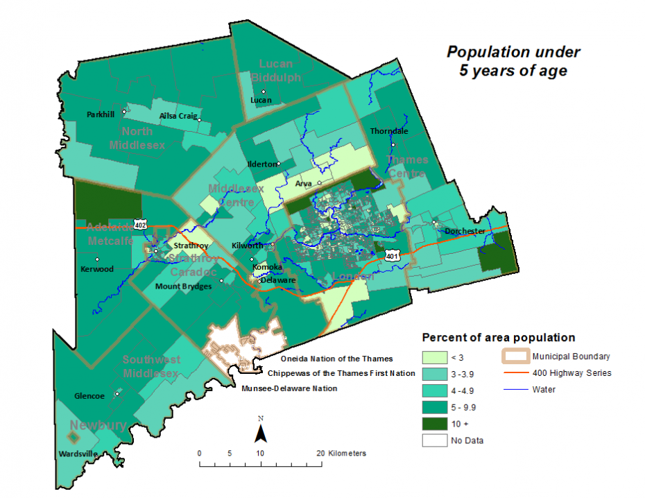 Figure 1.3.2 Population (age 0-4) by dissemination area