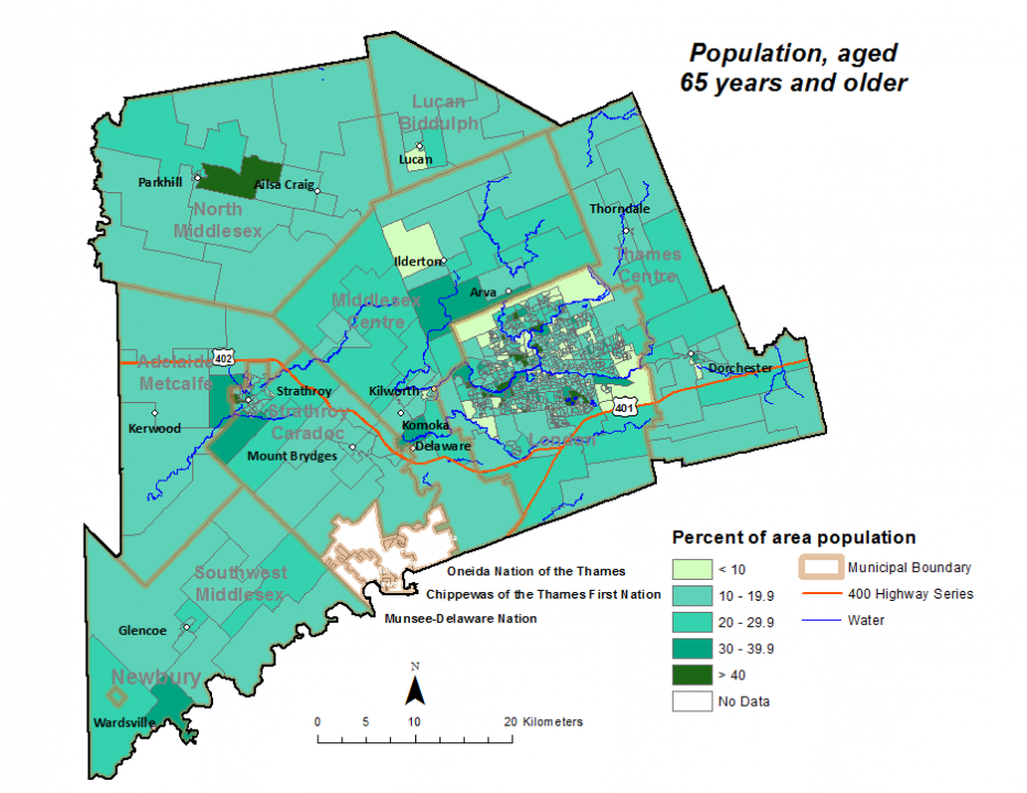 Figure 1.3.4 Population (age 65+) by dissemination area