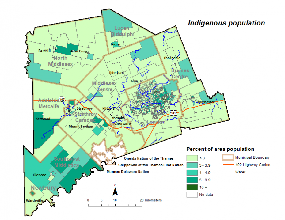 Figure 1.6.2: Indigenous population by dissemination area