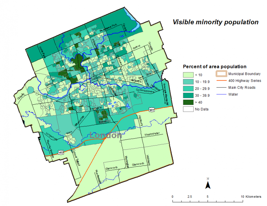 Figure 1.7.5: Visible minority population by dissemination area