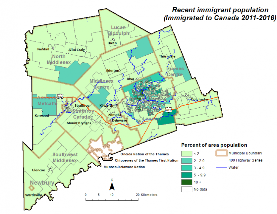 Figure 1.7.6: Recent immigrant population (immigrated to Canada 2011-2016) by dissemination area