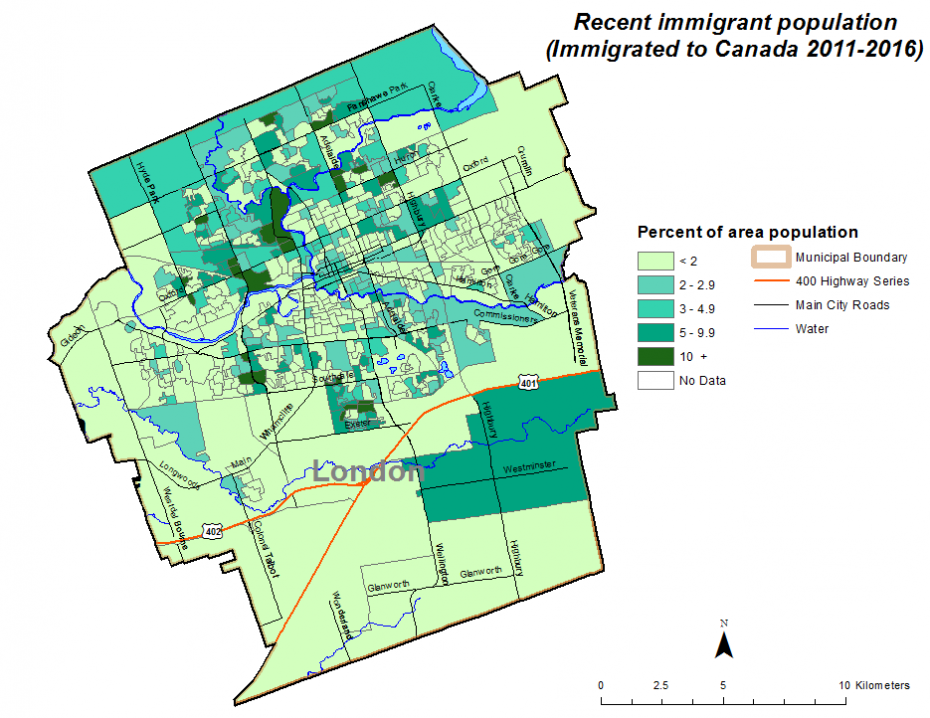 Figure 1.7.7: Recent immigrant population (immigrated to Canada 2011-2016) by dissemination area