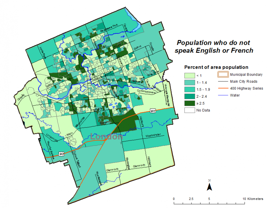 Figure 1.8.4: Population who do not speak English or French by dissemination area