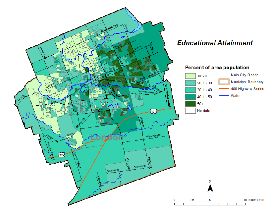 Figure 2.1.5: Population (age 25-64) who do not have a postsecondary certificate, degree or diploma by dissemination area