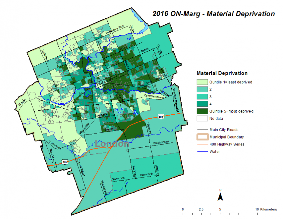 Figure 2.3.10: Material deprivation quintiles by dissemination area