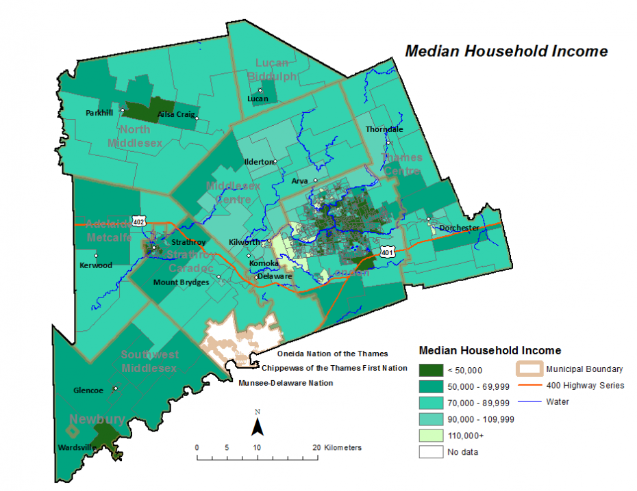 Figure 2.3.2: Median after-tax income for private households by dissemination area