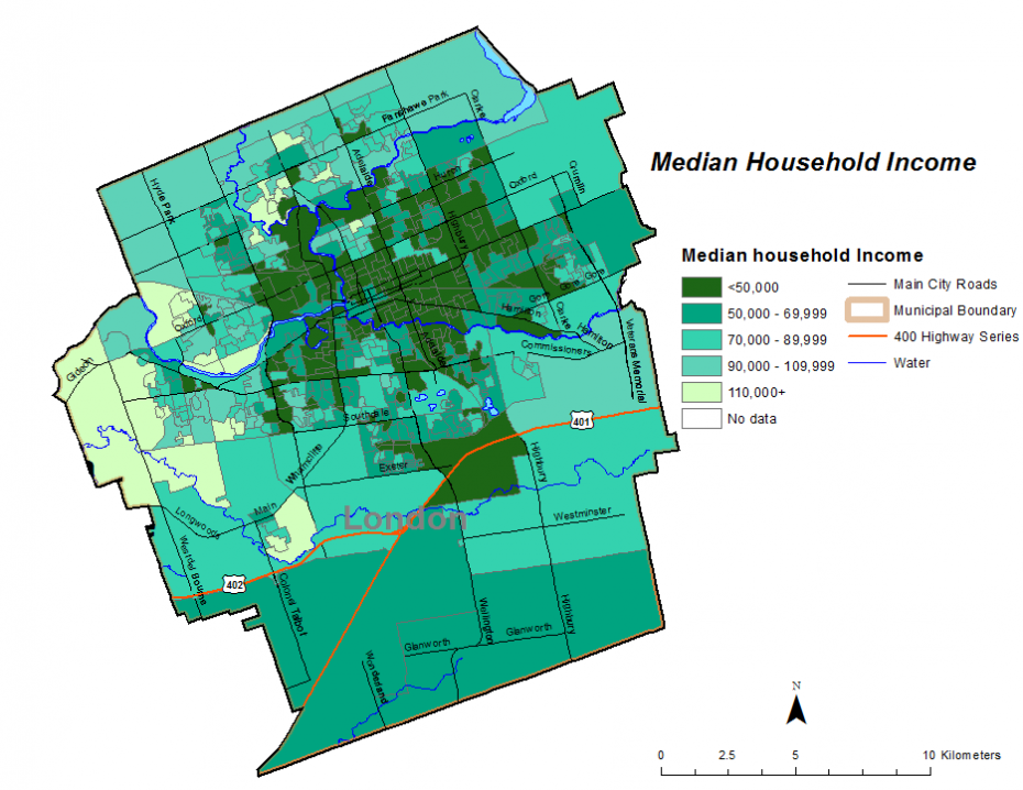 Figure 2.3.3: Median after-tax income for private households by dissemination area