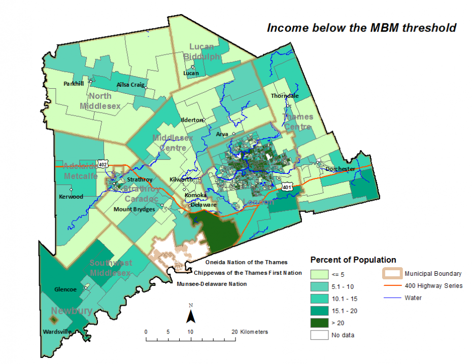 Figure 2.3.7: Population in low income households based on individual Market Basket Measure (MBM) by dissemination area