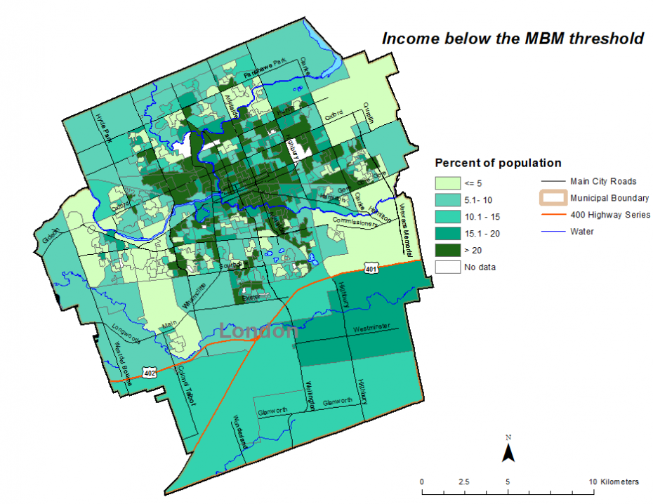 Figure 2.3.8: Population in low income households based on individual Market Basket Measure (MBM) by dissemination area