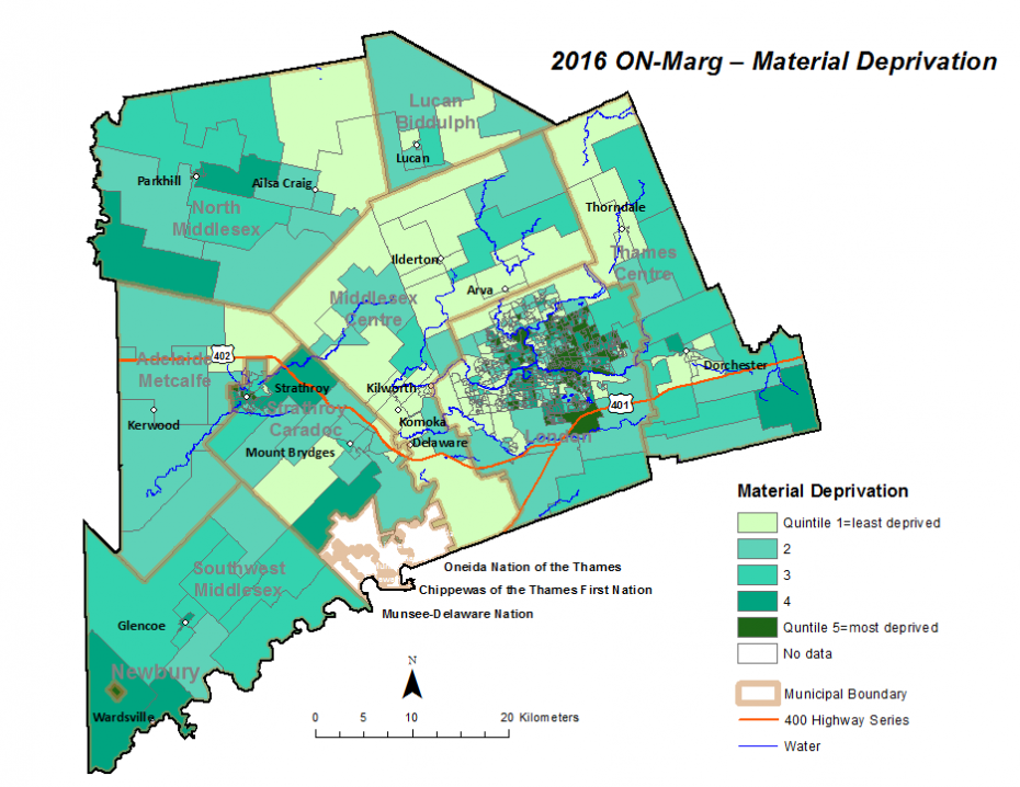 Figure 2.3.9: Material deprivation quintiles by dissemination area
