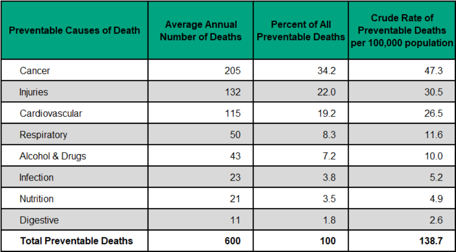Figure 3.5.4: Preventable causes of death, count, percent and rate