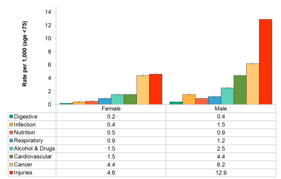 Figure 3.6.5: Preventable potential years of life lost by cause group by sex, rate per 1,000, age <75