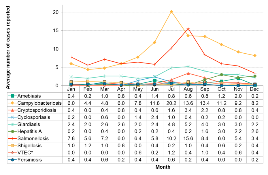 Figure 9.3.2: Enteric infections by month